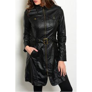 🆕 Black Vegan Leather Trench Jacket